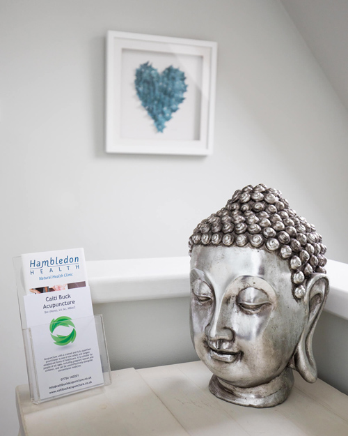 Buddha head with business card of Caiti Buck Acupuncture at Hambledon Health in Dorset